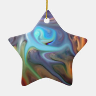 abstract expressionist isolation geometric Double-Sided star ceramic christmas ornament