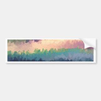 abstract expressionist landscape green orange bumper sticker