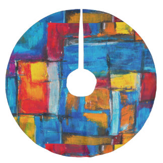 Abstract Expressionist Painting Pattern Brushed Polyester Tree Skirt