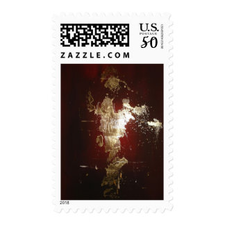 Abstract Expressionist Red Brown Gold Postage