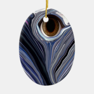 Abstract eye in wonderful colors of blues Double-Sided oval ceramic christmas ornament