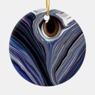 Abstract eye in wonderful colors of blues Double-Sided ceramic round christmas ornament