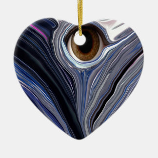 Abstract eye in wonderful colors of blues Double-Sided heart ceramic christmas ornament