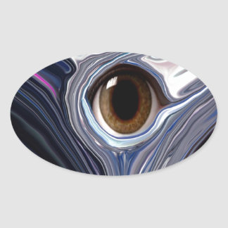 Abstract eye in wonderful colors of blues oval sticker