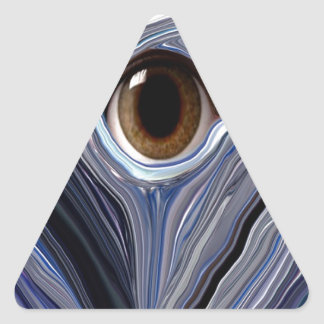Abstract eye in wonderful colors of blues triangle sticker