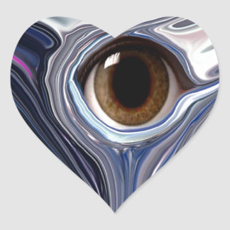 Abstract eye in wonderful colors of blues heart sticker
