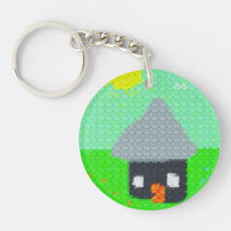 Abstract fabric needlepoint pattern Double-Sided round acrylic keychain