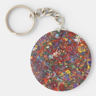 Abstract - Fabric Paint - Sanity Basic Round Button Keychain