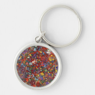 Abstract - Fabric Paint - Sanity Silver-Colored Round Keychain