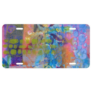 Abstract Fabric Print License Plate