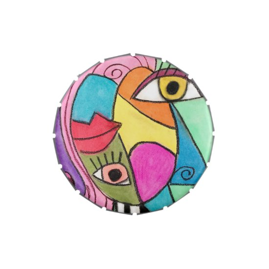 Abstract Face Artsy Cubism Fun Yellow Blue Pink Candy Tin