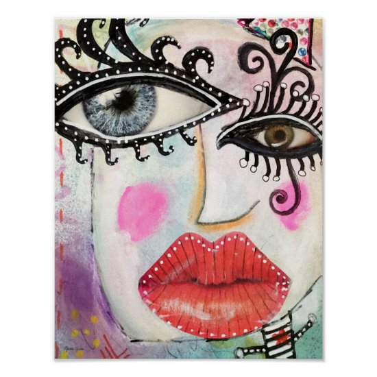 Abstract Face Big Eyes Red Lips Graffiti Neon Pink Poster