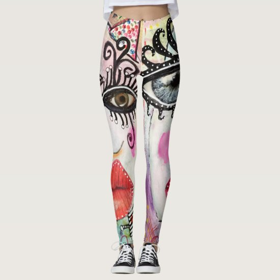 Abstract Face Big Eyes Red Lips Neon Pink Graffiti Leggings