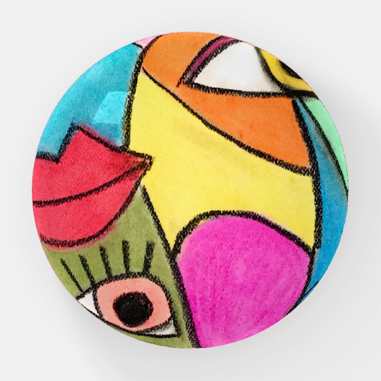 Abstract Face Blue Yellow Big Eyes Bold Red Lips Paperweight