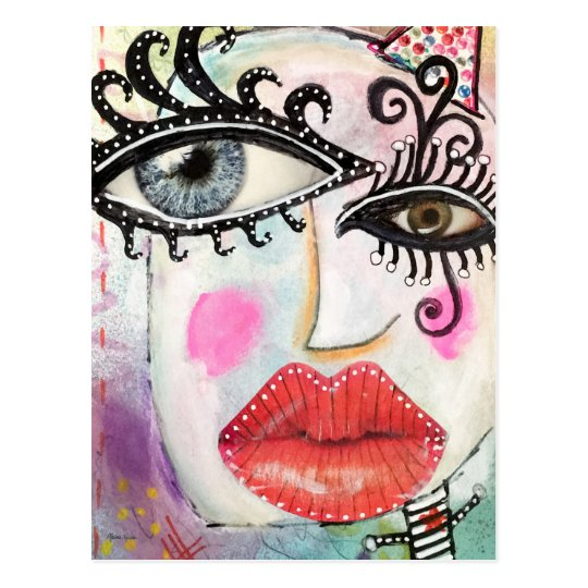Abstract Face Colorful Cool Graffiti Whimsical Art Postcard