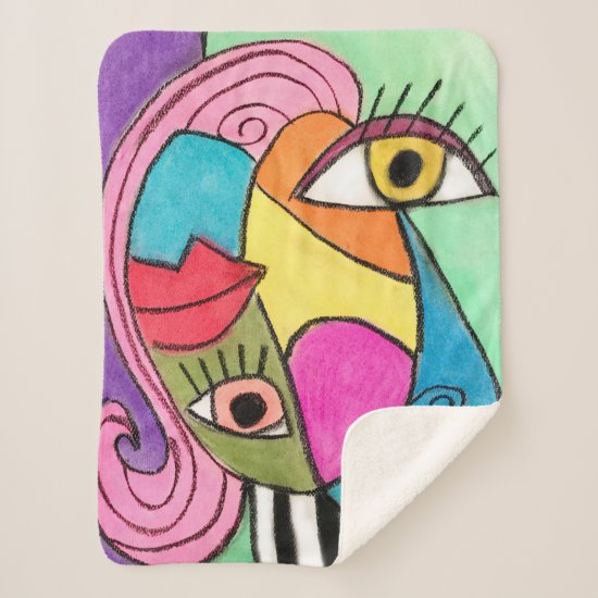 Abstract Face Colorful Cubism Purple Blue Green Sherpa Blanket