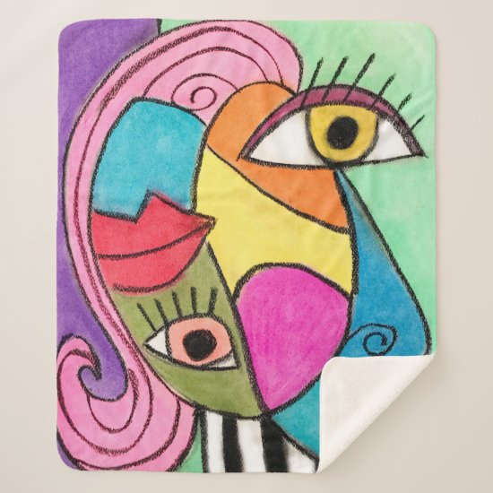 Abstract Face Colorful Cubism Whimsical Fun Artsy Sherpa Blanket