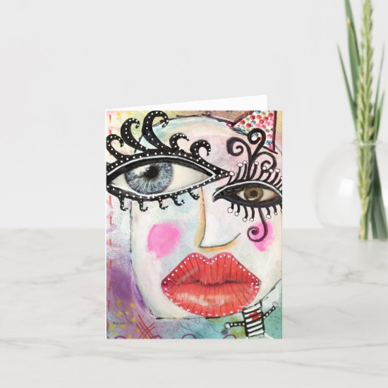 Abstract Face Colorful Graffiti Whimsical Art Note Card