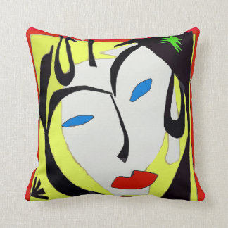 Abstract Face In Yellow Throw Pillow