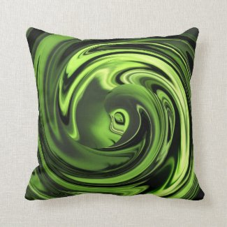 Abstract Face of Innocence in Chartreuse Pillow