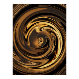 Abstract Face of Innocence in Gold Swirls Poster