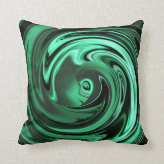 Abstract Face of Innocence in Green Throw Pillow