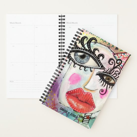 Abstract Face Quirky Art Black White Stripes Name Planner