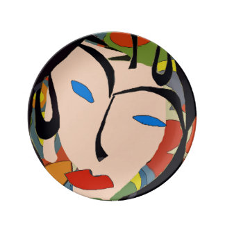 Abstract Face Tropical Look Porcelain Plates