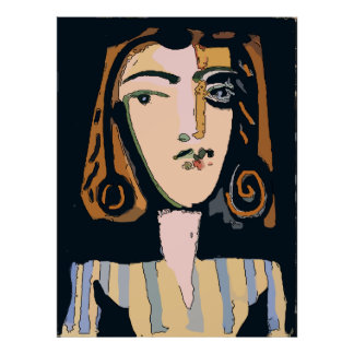 Abstract Face, Woman in Stripes Poster