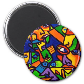 Abstract Faces 4 by Piliero 2 Inch Round Magnet
