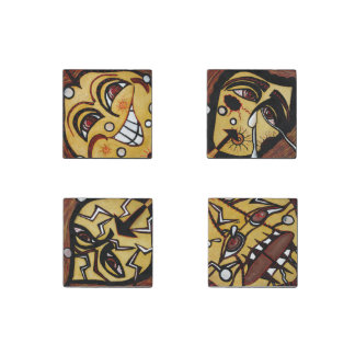 Abstract Faces Magnets From Original Paintings