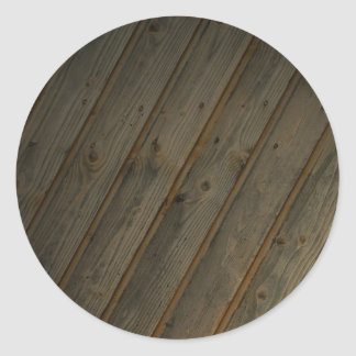 Abstract Fake Wood Grain Classic Round Sticker