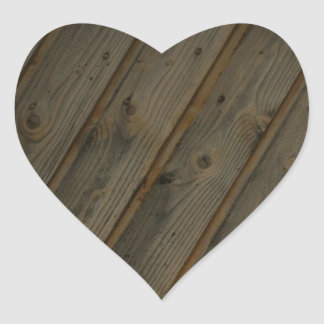 Abstract Fake Wood Grain Heart Sticker
