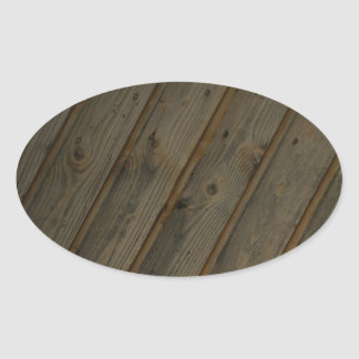 Abstract Fake Wood Grain Oval Sticker