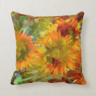 Abstract Fall Color Flowers Throw Pillow