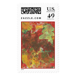 Abstract Fall Oak Leaves Painting Stamps