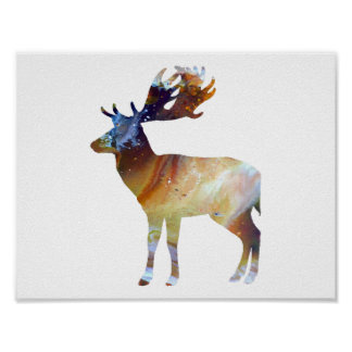 Abstract Fallow deer silhouette Poster