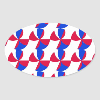 Abstract Fan Colour Oval Sticker