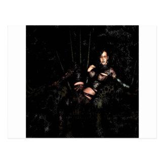 Abstract Fantasy Black Widow Temptress Postcard