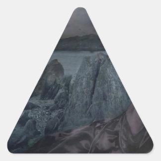 Abstract Fantasy Dark Princess Sea Shore Triangle Sticker