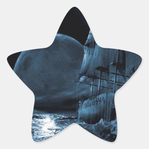 Abstract Fantasy Dark Ship Eclipse Star Sticker