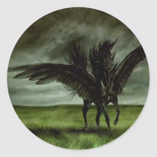 Abstract Fantasy Devils Horse Pegassus Classic Round Sticker