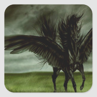 Abstract Fantasy Devils Horse Pegassus Square Sticker