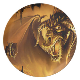 Abstract Fantasy Evil Serpant Fights Plate