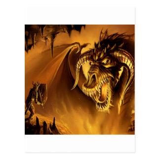 Abstract Fantasy Evil Serpant Fights Postcard