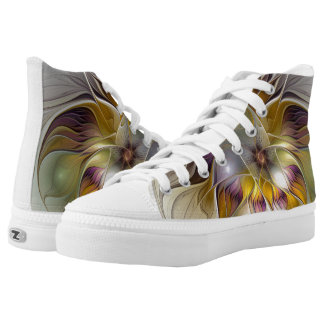 Abstract Fantasy Flower Fractal Art High-Top Sneakers