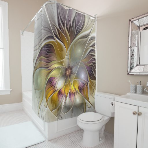 Abstract fantasy flower fractal art shower curtain zazzle for Fantasy shower curtains