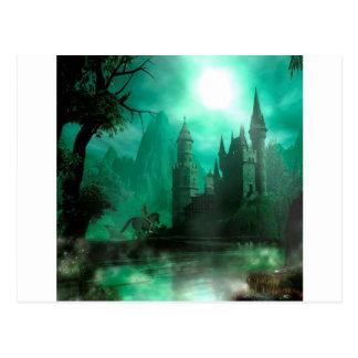 Abstract Fantasy Jade Moonlight Castle Postcard