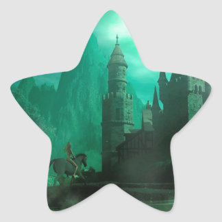 Abstract Fantasy Jade Moonlight Castle Star Sticker