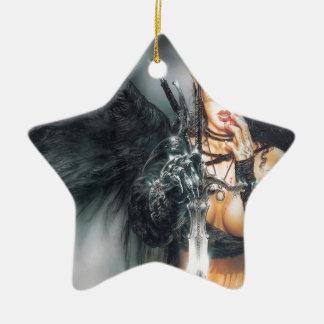 Abstract Fantasy Kiss Or Kill Misstress Double-Sided Star Ceramic Christmas Ornament